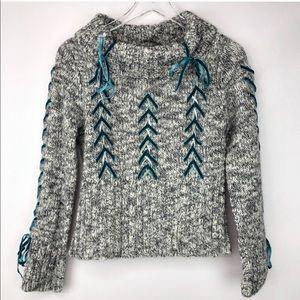 Anthropology | Mixed wool grey lace up sweater